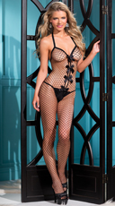 Plus Size Flirty Bow Fishnet Bodystocking