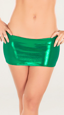 Metallic Green Mini Skirt