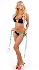 Neon Rainbow Bikini Top and Fringe Shorts Set