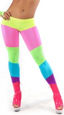 Rainbow Striped Neon Spandex Pants