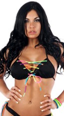 Neon Rainbow Lace Up Tri Top