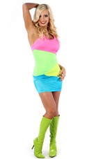 Neon Rainbow Halter Dress