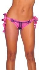 Plaid Print Tie Side Scrunch Rio Shorts