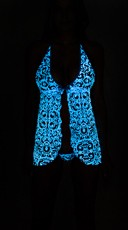 Glow in the Dark Turquoise Lace Print Babydoll