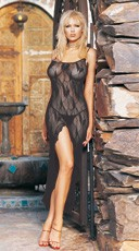 Butterfly Lace Long Gown w/ Split Front and G-String