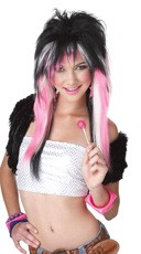 Rave Candy Pink and White Wig