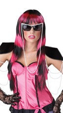 Untamed Striped Black and Pink Wig