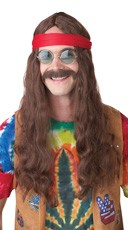 Hippie Man Auburn Wig and Moustache Set