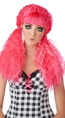 Hot Pink Crimped Doll Wig