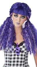 Purple Crimped Doll Wig