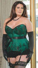 Plus Size Emerald Satin Corset