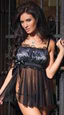 Black Mesh and Lace Babydoll Set