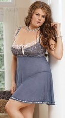 Plus Size Pretty in Periwinkle Babydoll and G-String