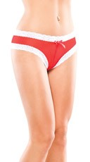 Plus Size Red Mesh Panty with White Lace Trim
