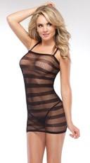 Striped Fishnet Dress