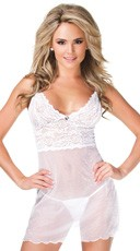 White Stretch Lace and Mesh Chemise