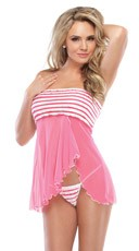 Ruffled Mesh Babydoll Set