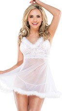 White Mesh and Lace Babydoll