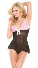 Black and Pink Flounce Teddy