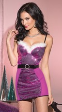 Sequin and Mesh Fur Trim Chemise