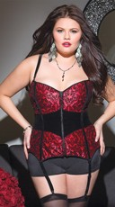 Plus Size Red and Black Damask Print Corset
