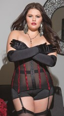 Plus Size Black and Red Powernet Waist Cincher