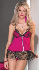 Microfiber and Metallic Lace Babydoll and G-String