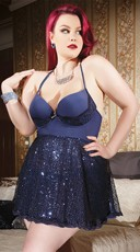 Plus Size Navy Blue Sequin Babydoll