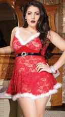 Plus Size Red Lace Holiday Babydoll