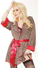Luxurious Leopard Lingerie and Robe Set