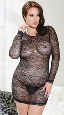 Plus Size Black Long Sleeve Lace Chemise