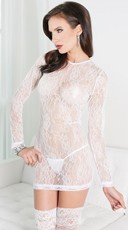 Black Long Sleeve Lace Chemise
