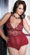 Plus Size Burgundy Beauty Teddy
