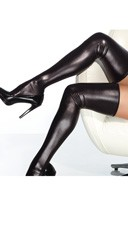 Plus Size Sexy Black Metallic Thigh Highs