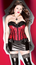 Plus Size Wet Look Red Lace Corset
