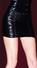 Plus Size Wet Look Gathered Skirt