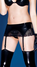 Plus Size Wet Look and Lace Garter Belt