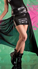Wet Look Skirt with Removable Mesh Overlay