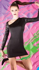 Black Mini Dress with Wet Look Sleeves