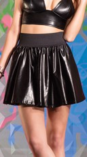 Black Wet Look Skater Skirt