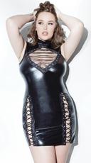 Plus Size Lace-Up Wet Look Dress