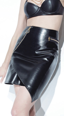 Asymmetrical Wet Look Skirt