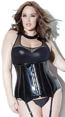 Plus Size Fishnet and Wet Look Sports Bra