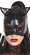 Wet Look Cat Mask With Lace
