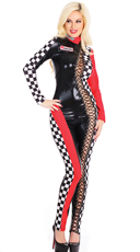 Lace-Up Racer Jumpsuit Costume