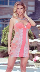 T-Back Floral and Scalloped Lace Chemise