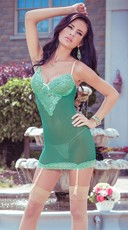 Green Lace Garter Chemise with Lace Up Back