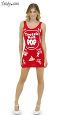 Red Cherry Tootsie Roll Pop Tank Dress