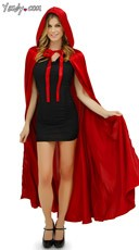 Hooded Satin Cape