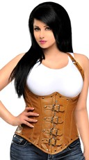 Plus Size Light Brown Faux Leather Underbust Corset
